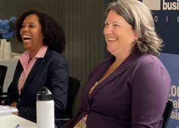From left: Rhode Island Lt. Gov. Sabina Matos and Newport Senator Dawn Euer, attend a round table discussion Wed. July 14, 2021, about how women-owned businesses are doing in the COVID-19 pandemic.